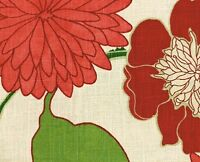 Richloom Fabric  Emily Garden  Ecru Red Green Drapery Upholstery