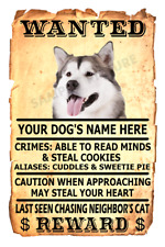 Alaskan Malamute Dog Wanted Poster Flex Fridge Magnet Personalize Name