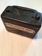 """Antique Cast Iron Still Bank Suitcase Handle Hinged Org Paint 4"""" Not Closing"""