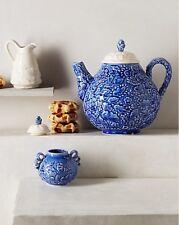 NIB Anthropologie CLAVEL SET Creamer Sugar Bowl Raised Flowers Blue White