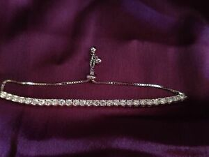 14k White Gold Over 5ct 3mm Solitaire  Diamond Adjustable Fancy Tennis Bracelet