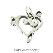 925 Sterling Silver Treble Clef in Heart Charm American Made
