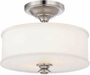 Minka-Lavery 2 Light Semi Flush, Brushed Nickel, Etched White Glass