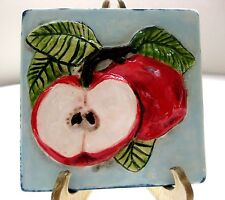 Vtg Handpainted Ceramic Tile With Embossed Apples Design