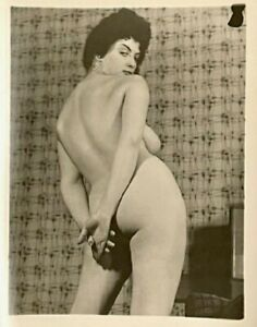 Vintage Silver Gelatin Trimmed Nude Eve Eden Perfect Tits & Nipples Risque