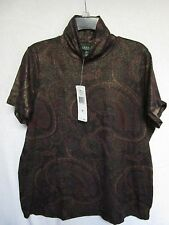 NWT Ralph Lauren Woman 1X Knit Top Paisley Mck Neck Holiday Party NEW Cat Rescue