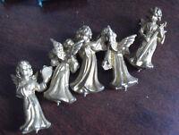 """Lot of 5 Vintage 1960s Plastic Angel Girl Figurines 1 3/8"""" Tall"""