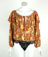 Free People Intimately Say It To Me Bodysuit Lace Floral Ruffle Trim Red XS New