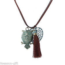 GIFT Spring Retro Tassels Long Sweater Chain Owl Leaves Pendant Necklace