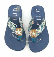 Unisa Flip Flop Womens Shoes 6.5 Navy Starfish Floral