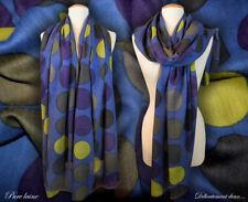 Étole 100% laine coloris bleu, pois multicolores - CH2