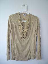 Shirt Langarm Rüschen Pailletten beige Gr. 34 3Suisses Vers.:2,70€