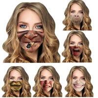 3D-Druck Tier lustige Gesichtsmaske Schutzhülle waschbar Wiederverwendbar