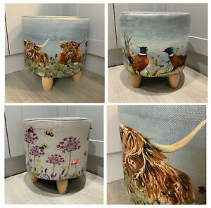 Highland Cow Fabric Footstool Side Table Cylinder Painted Bee Pheasant Round