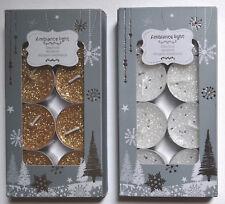 10 Christmas Glitter Tea Light Tealight Gold Silver Red Festive Decor Candles