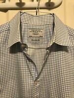 EUC $100 Charles Tyrwhitt Blue White Check Dress Shirt 16.5 33 Extra Slim Fit