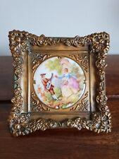 Vintage Decorative Gilt Framed Fragonard signed Porcelain Panel (Serenade Print)