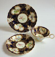 Antiguo Platillo de taza de té té placa trío inglés China Vintage Azul Pájaros Crescent