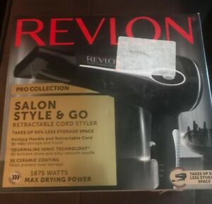 Revlon 1875W Rectractable Cord, Fold & Go Hair Dryer Open Box Tested