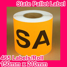 10 Rolls of State Label/Pallet Label - SA (150mm x 210mm, 4650 Labels in total)