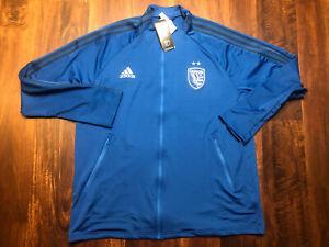New Adidas Mens San Jose Quakes Soccer Warmup Jacket Size XL Blue