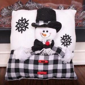 Christmas Throw Pillows Plaid Cartoon Snowman Santa Home Sofa Cushion Decor Chic