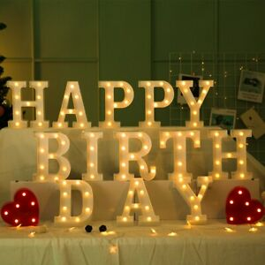 Large LED Light Up Alphabet Letters Warm White Lights Plastic Standing Numbers