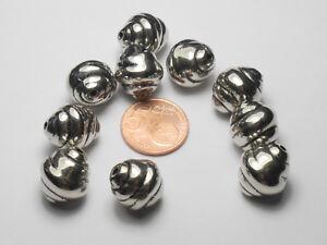 10 Hochwertige Acryl Perlen Silber groß 17,5x15mm Basteln Schmuckzubehör NEU