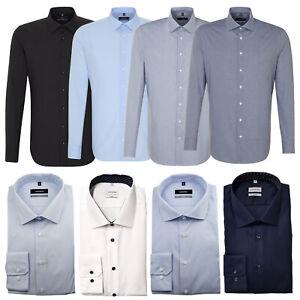 Seidensticker Langarm Hemd X-SLIM Kent weiß blau schwarz Uni Karo Streifen