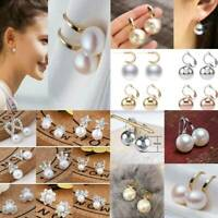 Fashion Gold/Silver Crystal Flower Pearl Ear Stud Earrings Plain Women Jewelry