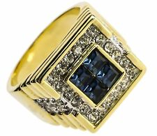 Deep Blue Sea 24 stone Simulated Sapphire mens ring 18k gold overlay size 14 AMA