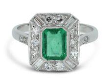 Art Deco Emerald and Diamond Ring 1.10ct + 0.55ct 18CT Platinum