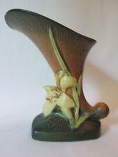 CORNUCOPIA VASE! Vintage ROSEVILLE ART pottery: brown ZEPHYR LILY pattern: EXC