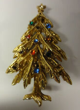 Vintage 60's Signed ART Christmas Tree Gold Tone Colorful Rhinestones Pin Brooch