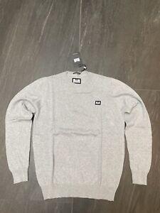 Weekend Offender Grey Cotton Knit Jumper in Medium BRAND NEW