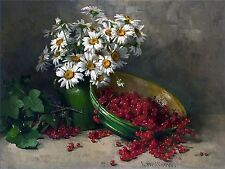 Still Life daisies and berries Accent Tile Mural Kitchen Bathroom Backsplash 8x6