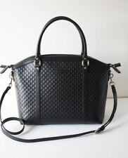GUCCI 449657 Women's Tasche Leather Bag Micro GG Guccissima Leder black