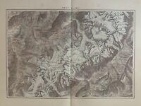 1880 Mont Blanc, The Alps Original Antique Map