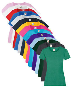 Femmes Fruit of the Loom Uni Cotton Femmes Moulant Col Rond T-Shirt