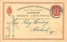 Ganzsache Danmark gel. Kjobenhavn 1888 Verdenspostforenincen
