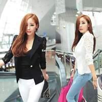 Women Ladies Long Sleeve Floral Lace Crochet Top Suit Blazer Jacket White Black