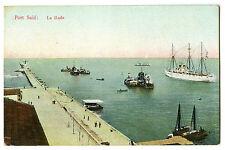 EGYPT PORT SAID La Rade Quay SUEZ CANAL STEAMSHIP VINTAGE POSTCARD