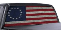 FGD Perforated Truck Rear Window Betsy Ross Colonial Flag Decal One way Vision