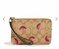 🍉Coach Corner Zip Wristlet In Signature Canvas With Watermelon Print ~ NWT