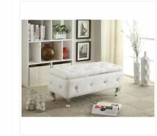 White Leather Storage Benches For Sale | EBay