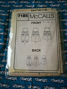 McCall's Sewing Pattern #7185 Vintage dresses Size 10-12-14 UNCUT