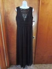"Ladies ""Chaps"" Size 14, Black, V-Neck w/Insert, Empire, Sleeveless, Maxi Dress"