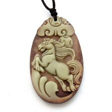 Two Layer Natural Stone Lucky Chinese Zodiac Horse Coin Amulet Pendant