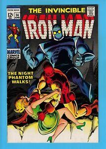 IRON MAN # 14 FN+ (6.5) 1st NIGHT PHANTOM APPEARANCE- GLOSSY US CENTS COPY- 1969