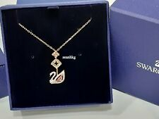 Swarovski Dazzling Swan Y Necklace, ROS pink/crisp Crystal Authentic MIB 5473024